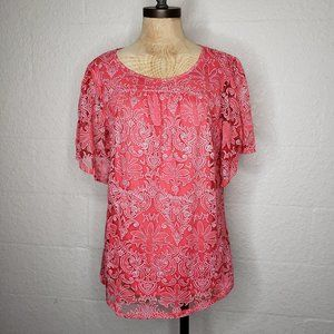 Kate & Mallory Lace Overlay Red/Orange Top Large